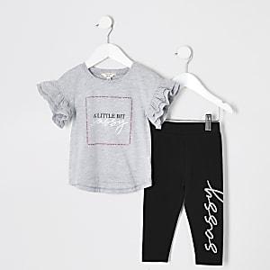 Mini - Outfit met grijs T-shirt met ruches en 'Sassy'-tekst voor meisjes