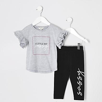 Mini girls grey 'Sassy' frill T-shirt outfit