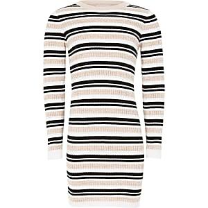 Roze gestreepte aansluitende gebreide trui-jurk voor meisjes