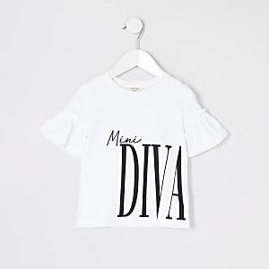 Mini – Weißes T-Shirt mit Print und gerüschten Ärmeln für Mädchen