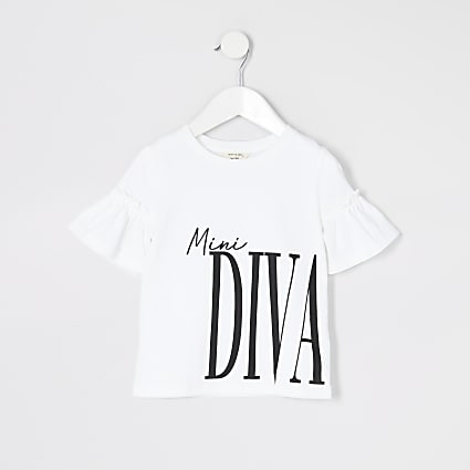 Mini girls white printed frill sleeve T-shirt