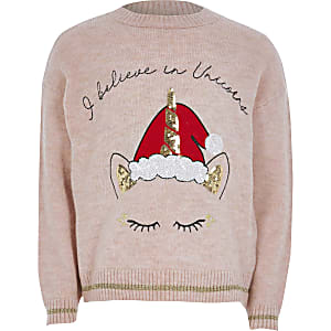 Pull en maille licorne de Noël rose pour fille