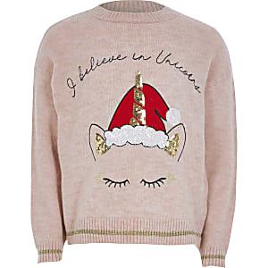 Roze gebreide Kersteenhoorntrui voor meisjes