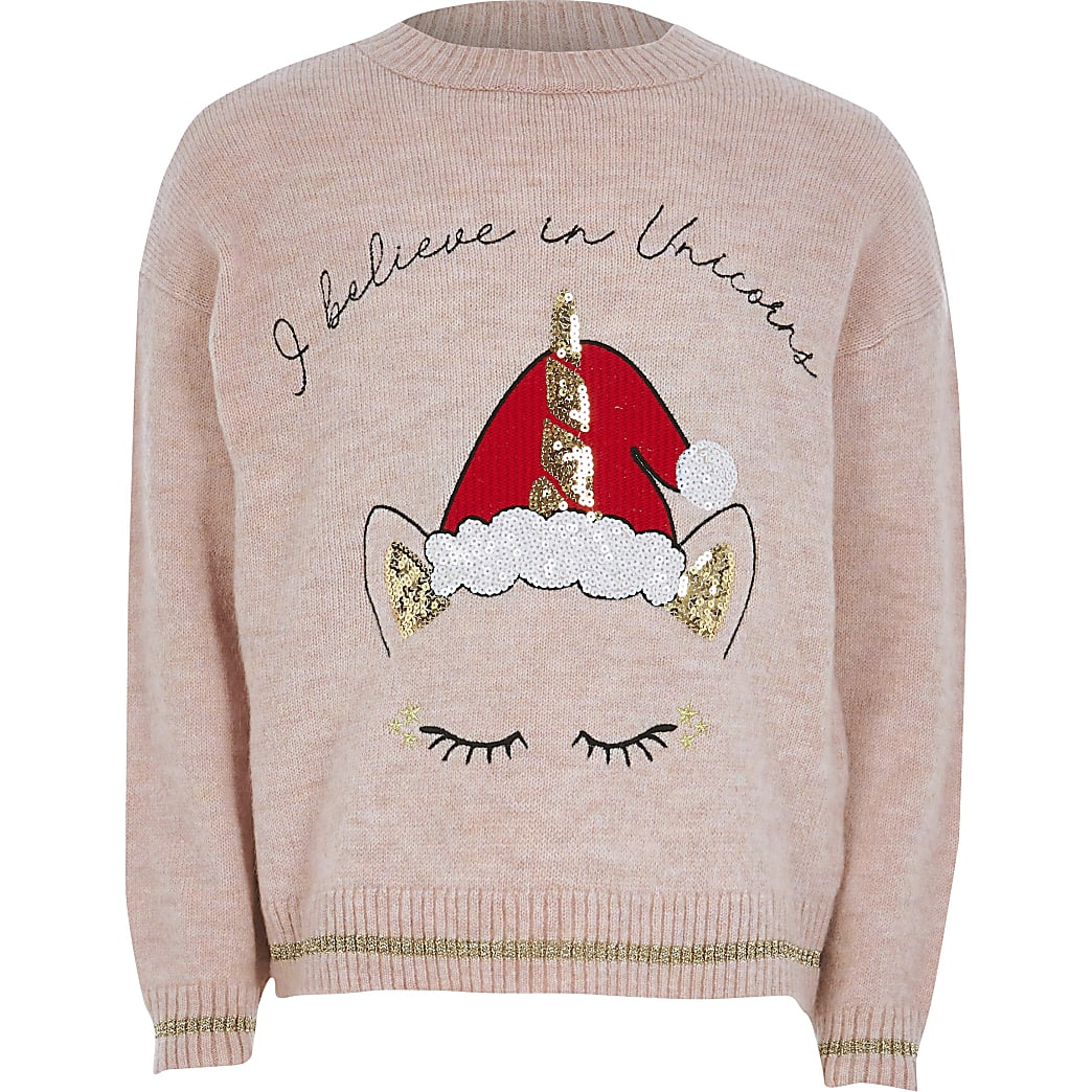 Girls pink Christmas unicorn knit jumper