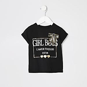 Schwarzes T-Shirt mit aufgedruckter Schleife für junge Mädchen