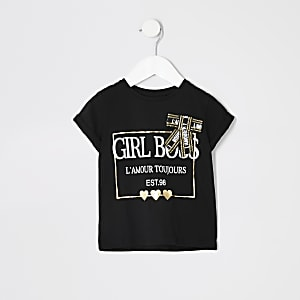 Mini - Zwart T-shirt met strik met print voor meisjes