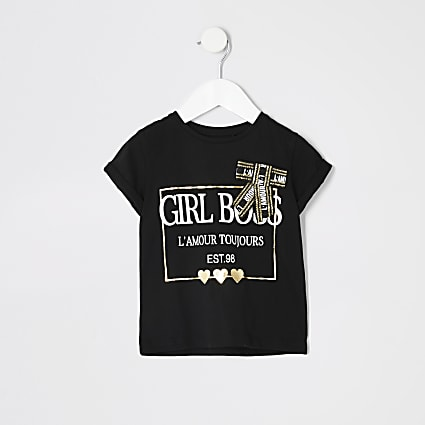 Mini girls black printed bow T-shirt