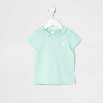 Mini girls green frill neck T-shirt