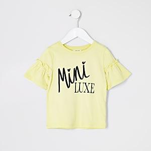 Mini – Gelbes T-Shirt mit Print und Rüschenärmeln für Mädchen
