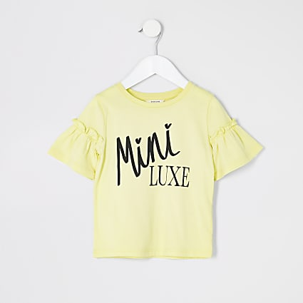 Mini girls yellow print frill sleeve T-shirt