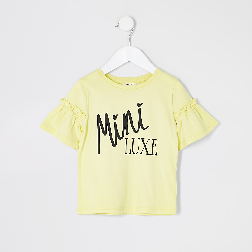 Mini girls yellow print frill sleeve T-shirt