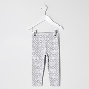 Leggings gris avec monogramme RI Mini fille