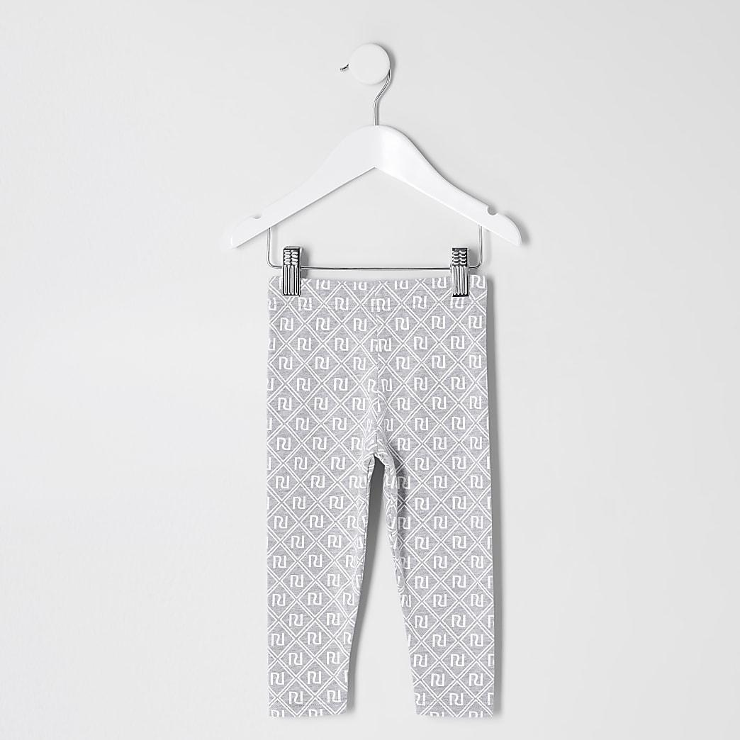 Mini – Graue Leggings mit RI-Monogramm für Mädchen