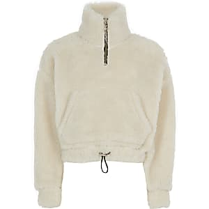 Crèmekleurige sweater met halve ritssluiting en borgkraag voor meisjes