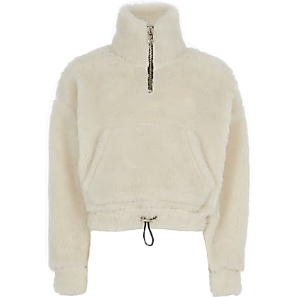 Girls cream borg half zip sweatshirt