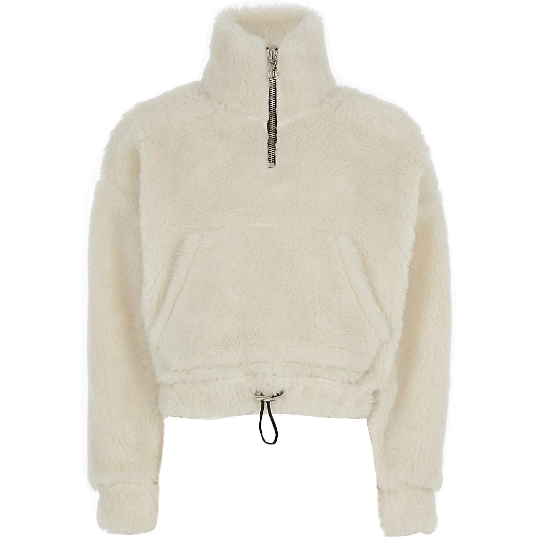 Girls cream borg half zip sweatshirt