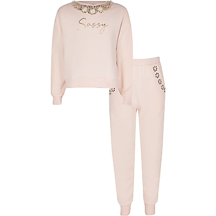 Girls pink embellished sweatshirt outfit