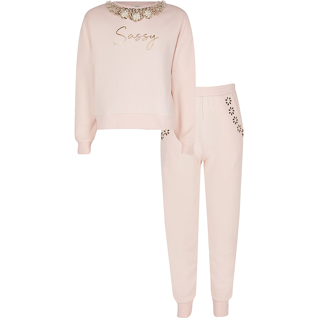Girls pink embellished sweatshirt outfit