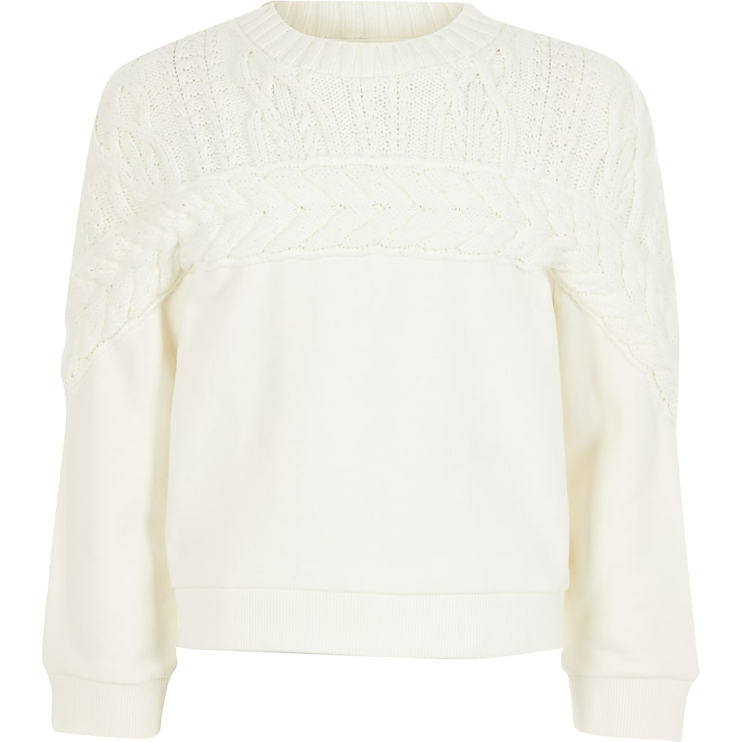 Girls cream long cable knit sweatshirt