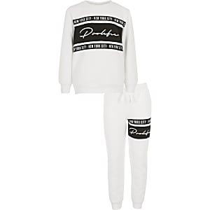 Wit sweatshirt outfit met Prolific-logo voor jongens