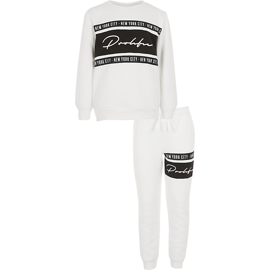 Boys white tape Prolific sweatshirt outfit