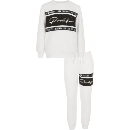 Boys white tape Prolific sweatshirt outfit