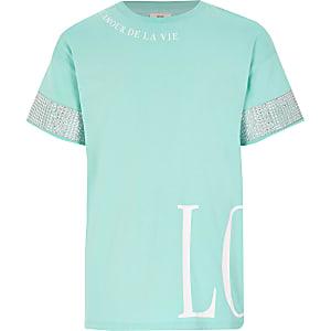 Türkisfarbenes T-Shirt mit Print und Strass für Mädchen