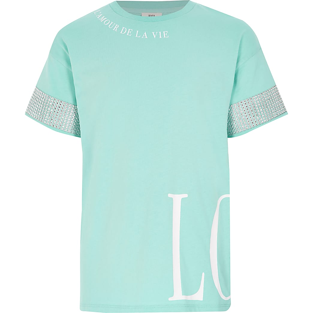 Girls turquoise print diamante sleeve T-shirt