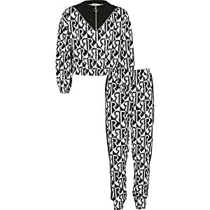 Schwarzes Sweatshirt-Outfit mit geometrischem RI-Print für Mädchen