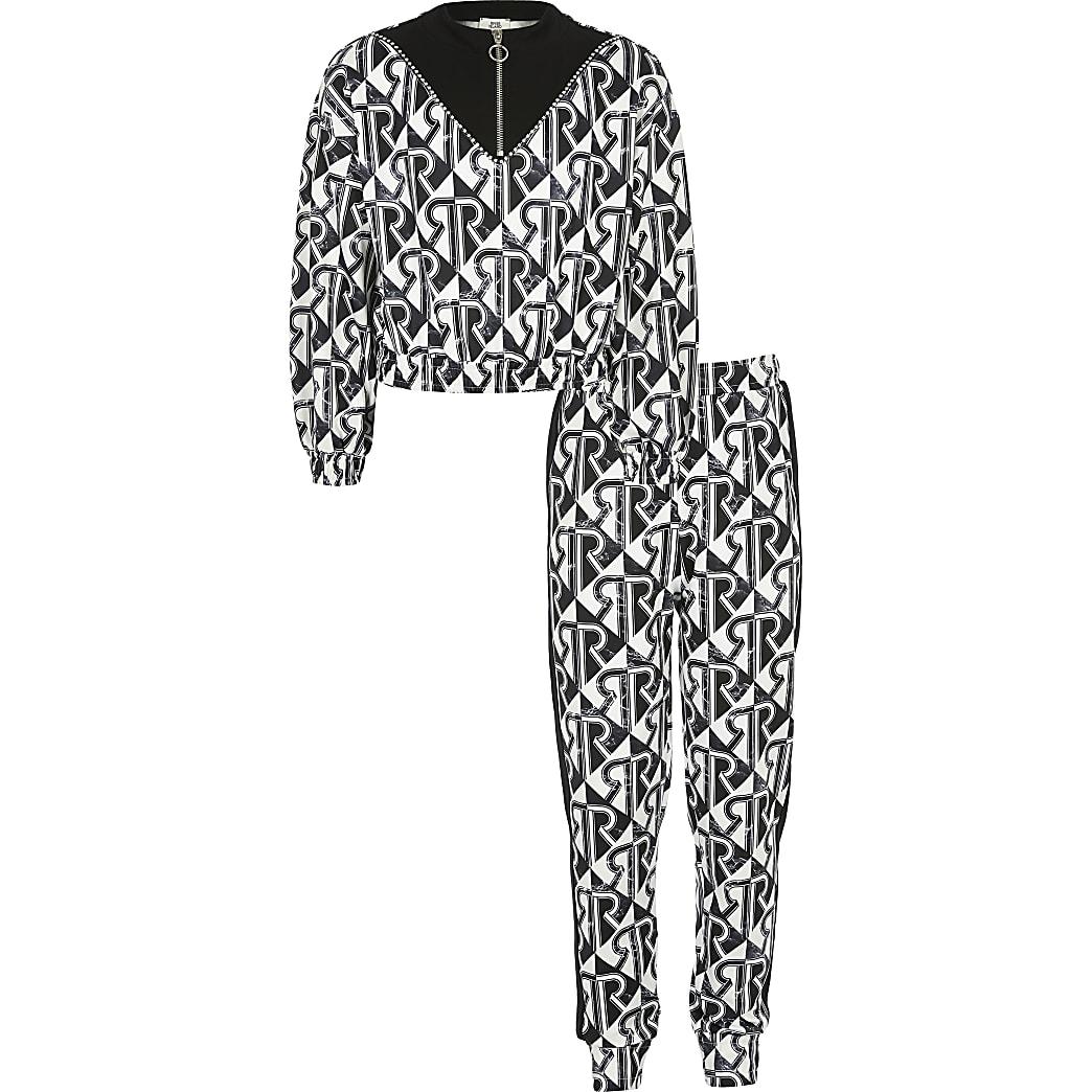Outfit met zwart sweatshirt met RI-geoprint voor meisjes