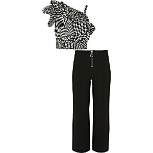 Girls dogtooth check print crop top outfit
