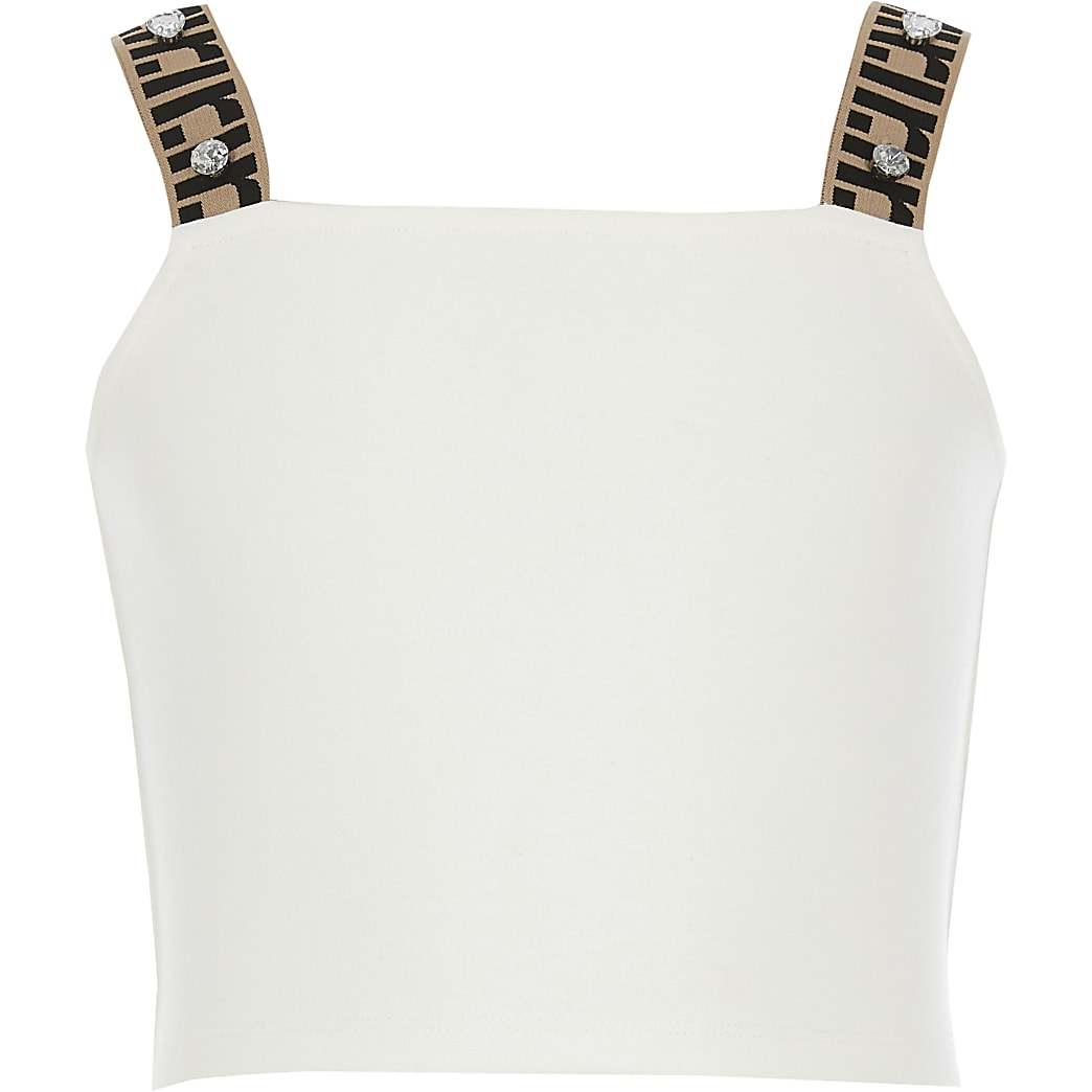 Girls cream RI strap cropped top