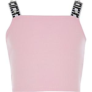 Kurzes Oberteil in Pink mit RI-Streifen für Mädchen