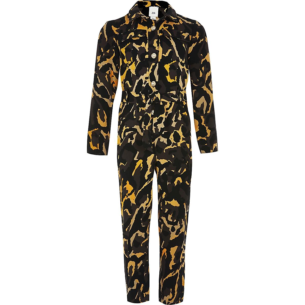 Girls khaki camo long sleeve boiler jumpsuit