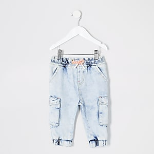 Mini - Blauwe acid wash denim joggingbroek voor meisjes