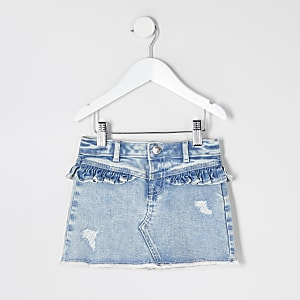 Mini – Gerüschter Jeansminirock in Blau für Mädchen