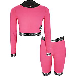 RI Active – Pinkfarbenes RI-Hoodie-Outfit für Mädchen