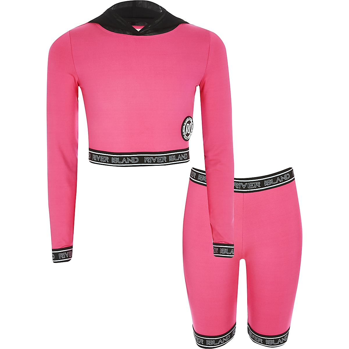 RI Active - Outfit met roze hoodie met RI-tekst voor meisjes