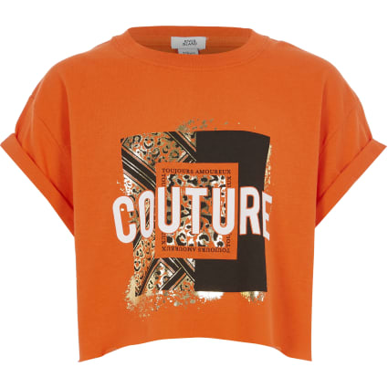 Girls orange 'Couture' print cropped T-shirt