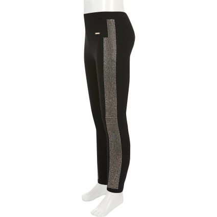Girls black diamante side leggings