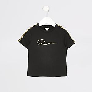 Mini – Schwarzes T-Shirt mit River-Stickerei für Jungen