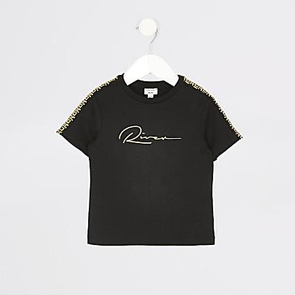 Mini boys black 'River' embroidered T-shirt