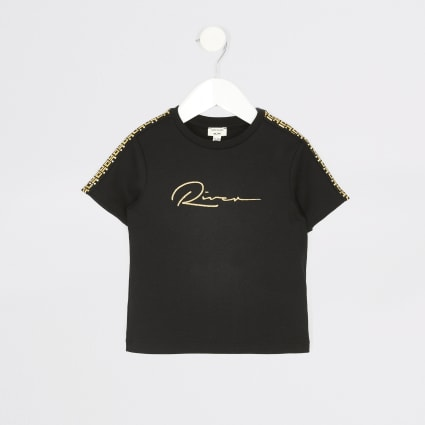 Mini boys black 'River' embroidered T-shirt
