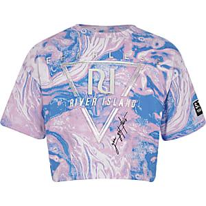 Ri Active – Pinkes T-Shirt mit Prägung in Marmoroptik für Mädchen