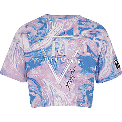 Girls pink RI Active marble embossed T-shirt