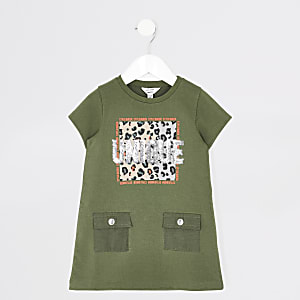 """""""Unique"""" T-Shirtkleid in Khaki für kleine Mädchen"""