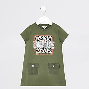 Mini - Kaki T-shirtjurk met 'Unique'-tekst voor meisjes