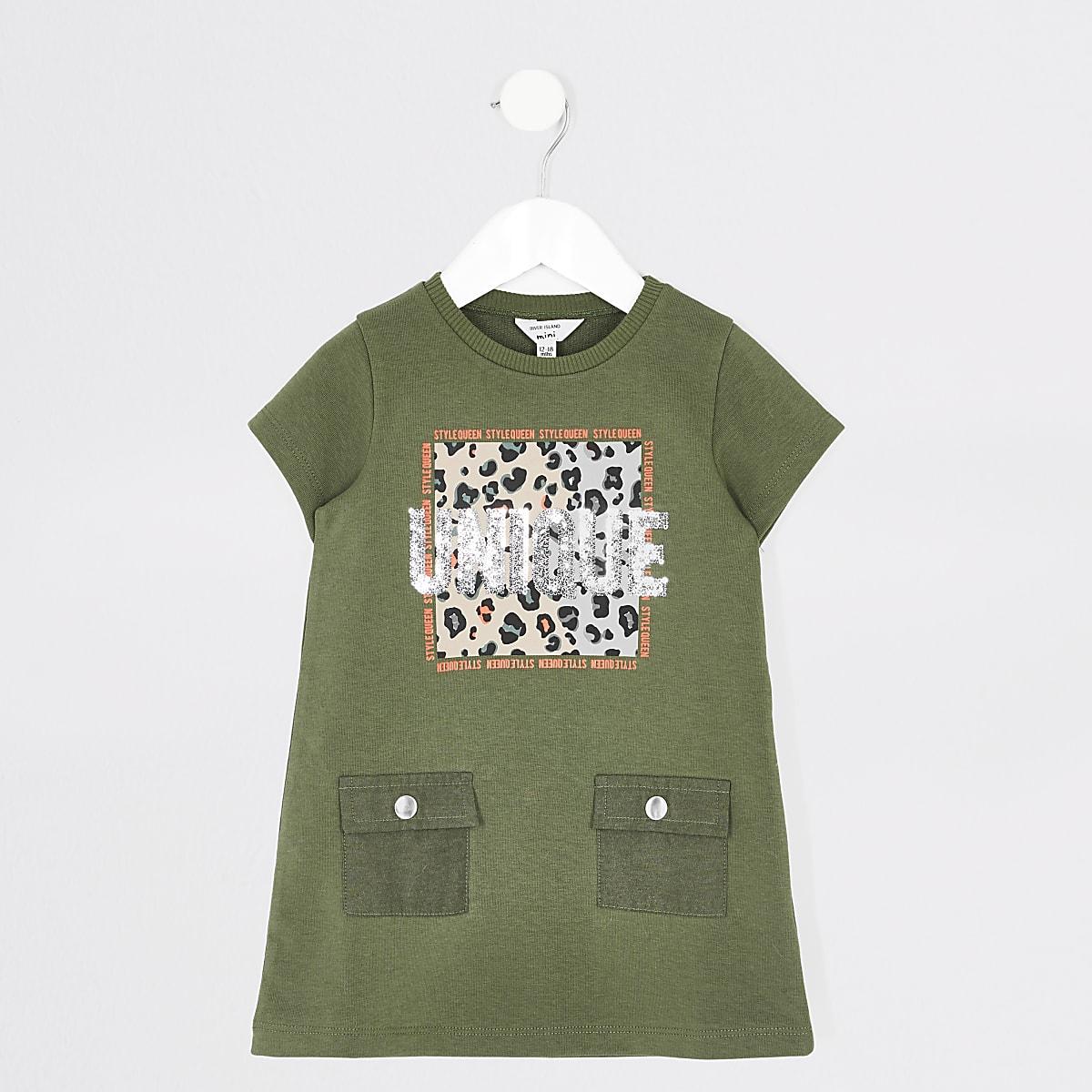 Mini girls khaki 'Unique' T-shirt dress