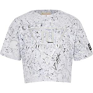 """RI – Crop-T-Shirt in Silber """"Fearless"""" für Mädchen"""