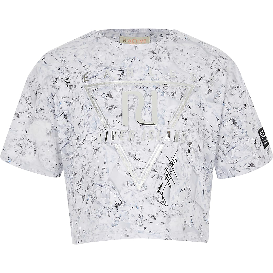 Girls silver fearless RI cropped T-shirt